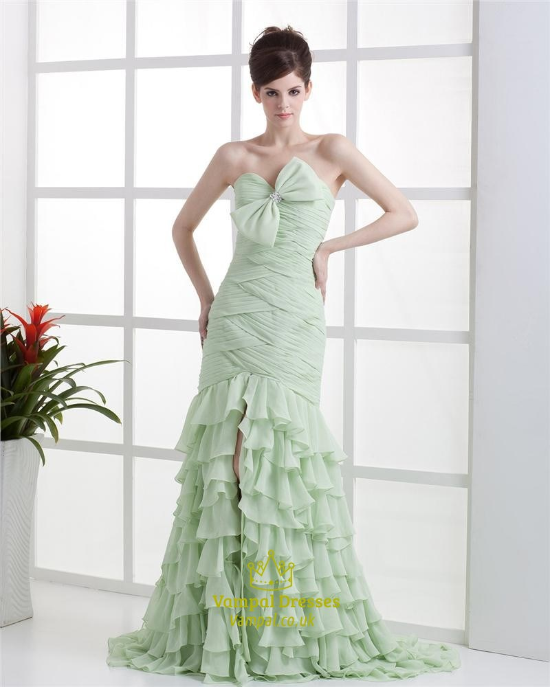 Apple Green Dresses With Ruffles At The Bottom And Slits On The Side