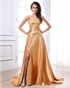 Golden One Shoulder Prom Dresses With Slits,Gold Prom Dresses With Straps
