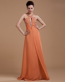 Coral Halter Neck Top Maxi Dress With Slits On The Side