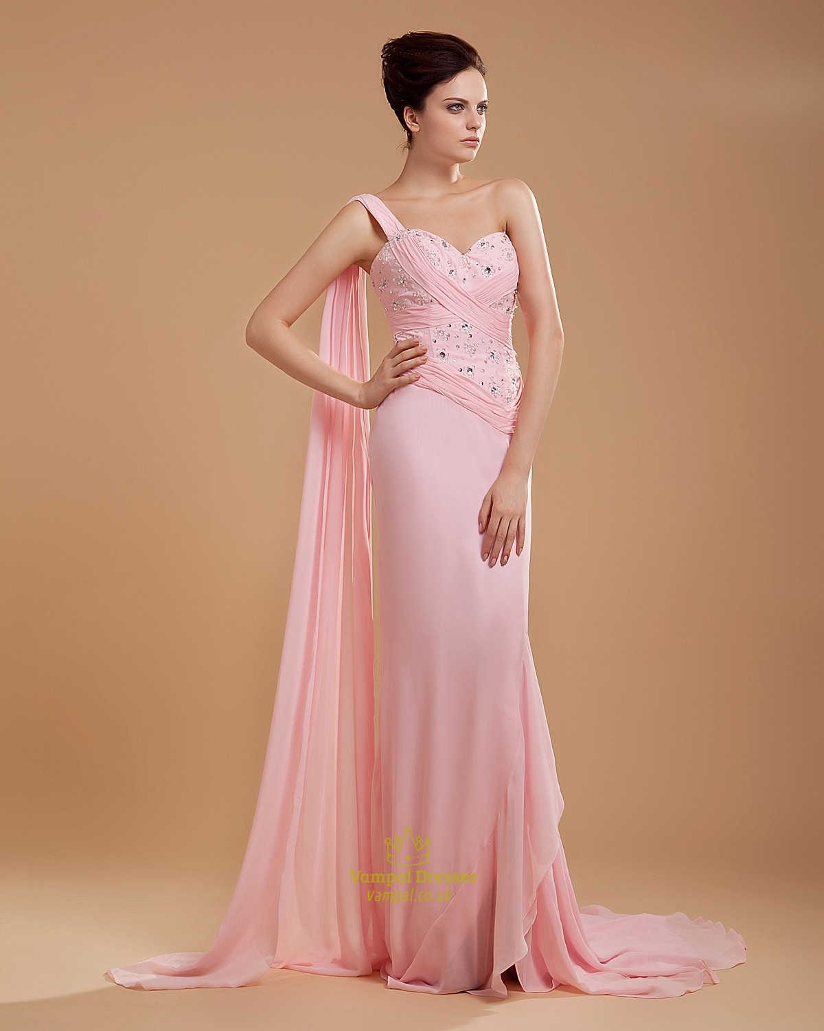 One Shoulder Light Pink Bridesmaid Dresses Chiffon Long | Vampal Dresses