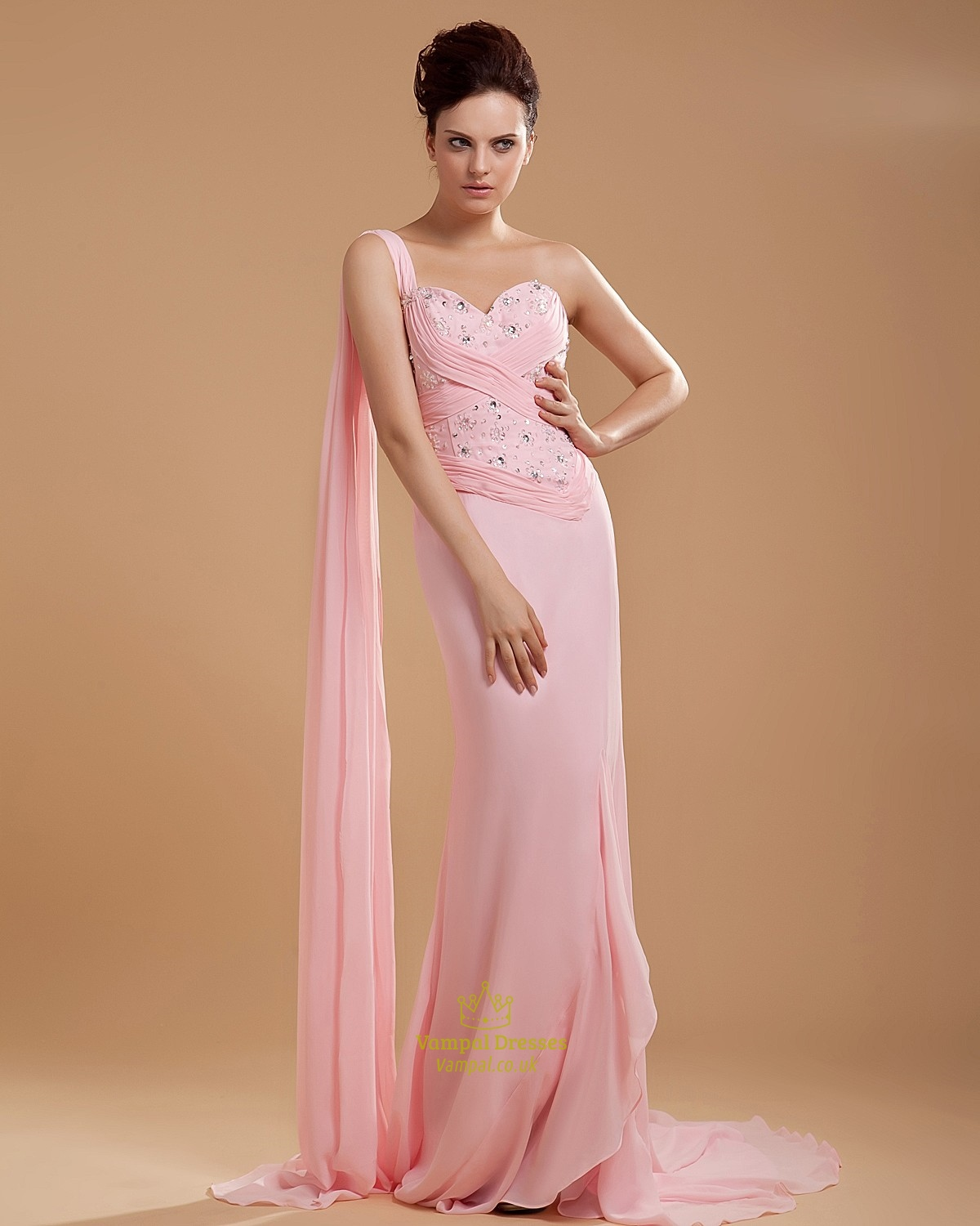 e Shoulder Light Pink Bridesmaid Dresses Chiffon Long