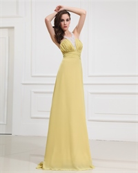 Yellow Open Back Lace Top Halter Dress With Jeweled Collar