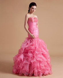 a6a1f3da12c Pink Beading Ruffle Ball Gown Prom Dress With Strapless Sweetheart