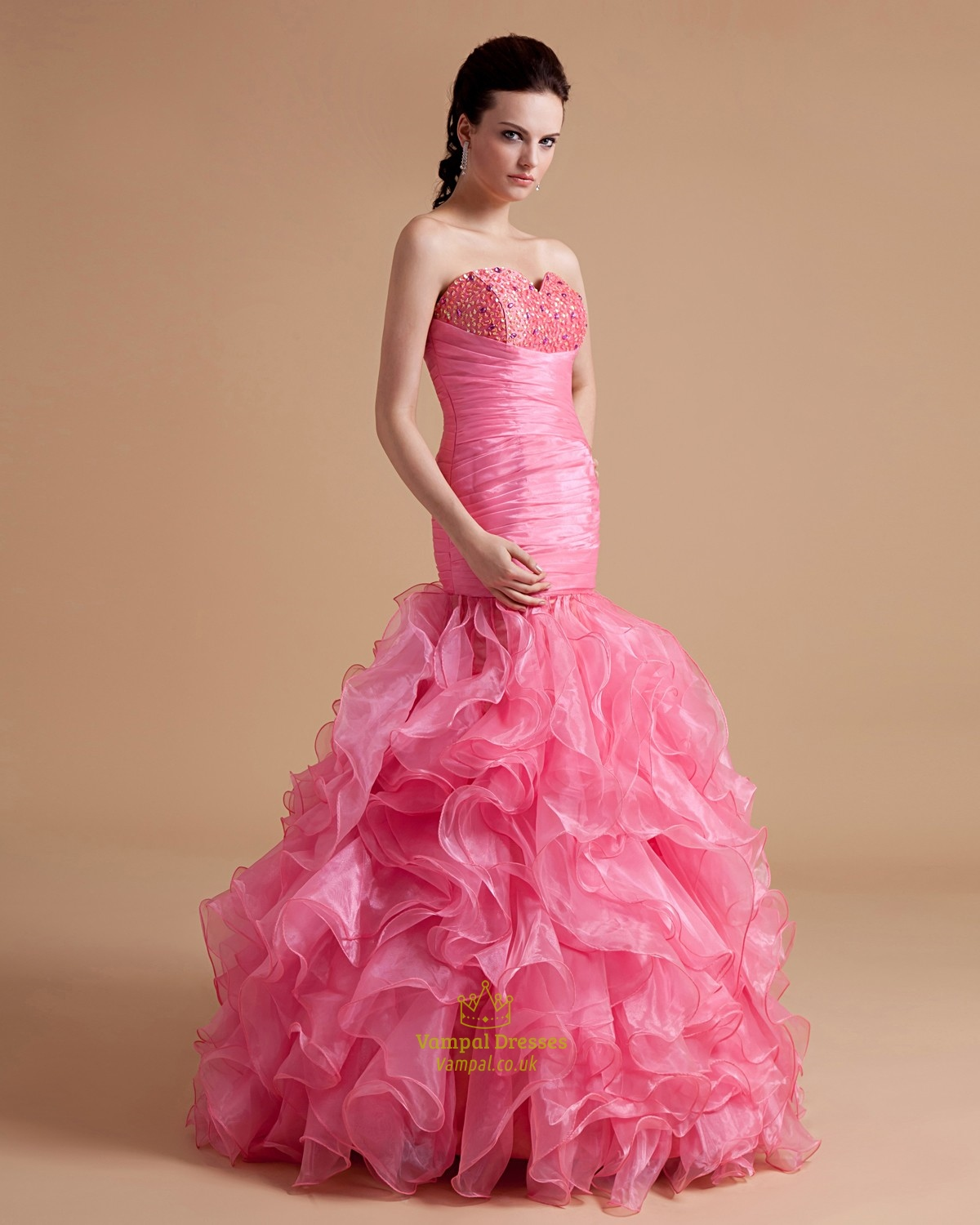 Pink beading ruffle ball gown prom dress with strapless for Pink ruffle wedding dress