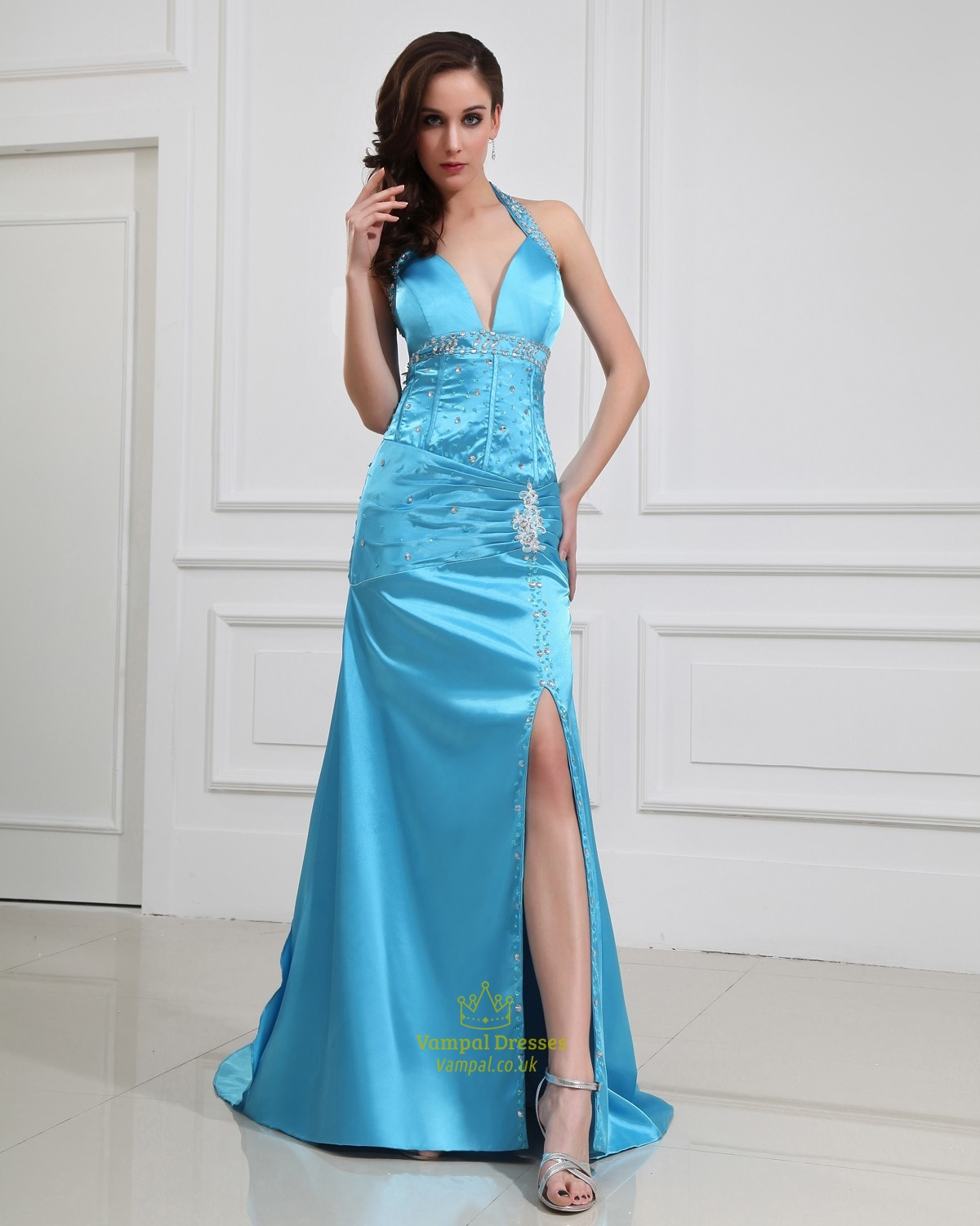 Blue Halter Prom Dresses With Slits Up The Side | Vampal Dresses