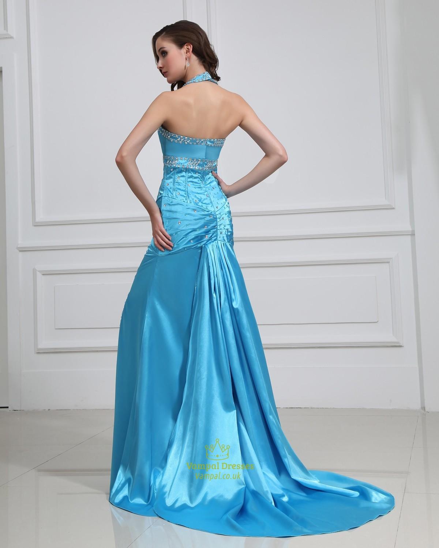 Blue Halter Prom Dresses With Slits Up The Side | Vampal Dresses