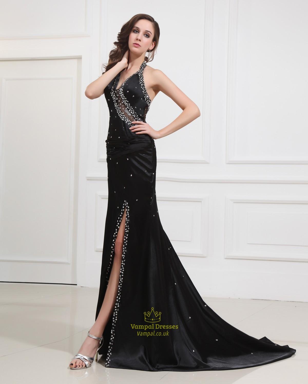 Long Black Halter Neck Evening Formal Gowns With Side Split | Vampal ...