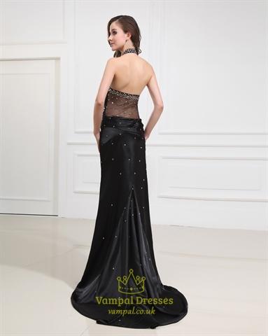 Long Black Halter Neck Evening Formal Gowns With Side Split Vampal