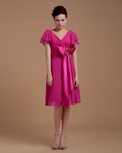 Short Fuchsia Homecoming Dress,Hot Pink Dress With Sleeves