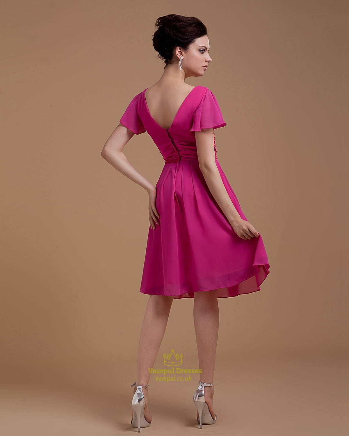 Fuchsia Gown: Short Fuchsia Homecoming Dress,Hot Pink Dress With Sleeves