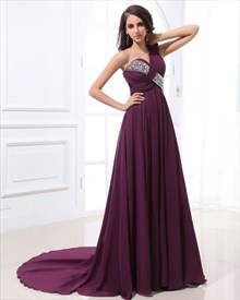 Long Purple One Shoulder Prom Dress,Purple Dress With Train Prom