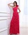 Hot Pink One Shoulder Prom Dress ,Dark Fuschia Prom Dresses
