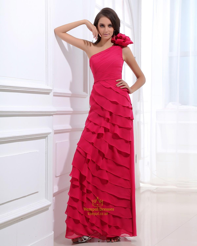 Hot Pink One Shoulder Prom Dress ,Dark Fuschia Prom Dresses | Vampal ...