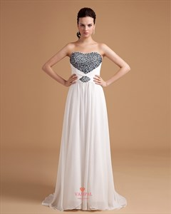 White Evening Gowns For Women,Black And White Evening Dresses