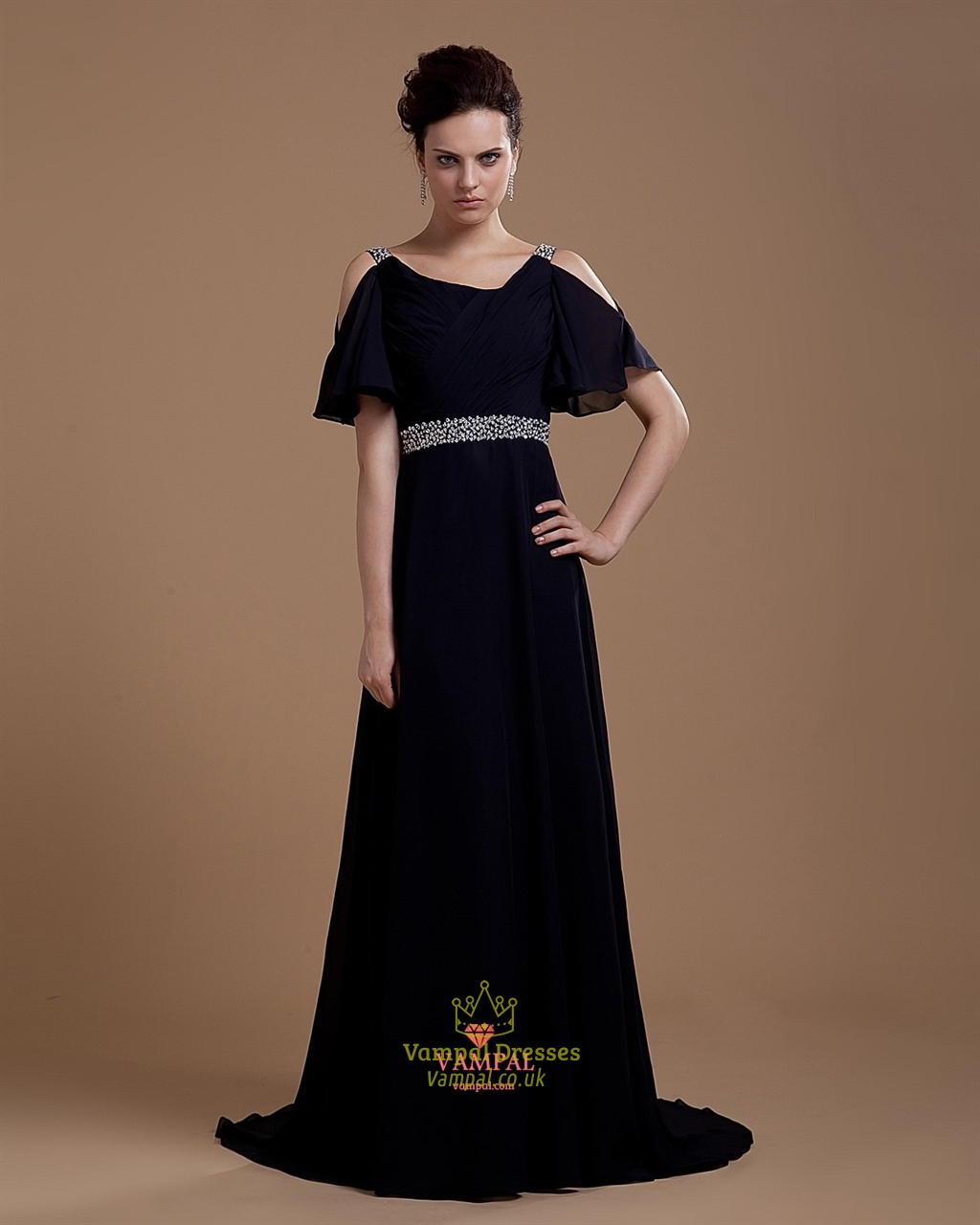 b6472f62094 Long Black Formal Gowns With Sleeves