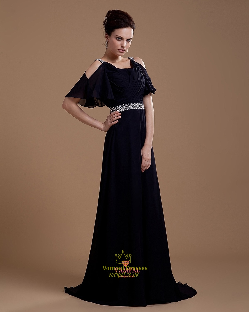 Sleeves,Black Prom Dresses Long