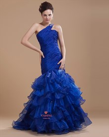 Royal Blue One Shoulder Evening Dresses ,Royal Blue Formal Dresses For Women