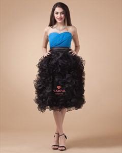 Short Light Strapless Sky Blue Prom Cocktail Dress