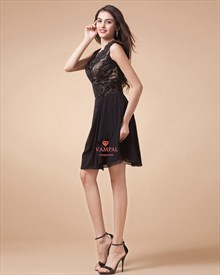 Black Mini Dress With Lace And Scoop Back,Black Short Cocktail Dresses