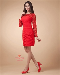 Short Red Dress With Long Sleeves,Red Lace Dress Long Sleeve