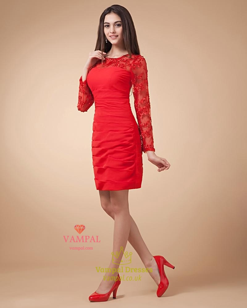 9b857078c5f2 Short Red Dress With Long Sleeves