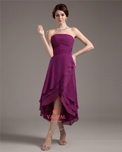 Purple Strapless Dresses For Teenagers,Simple Purple High Low Homecoming Dress