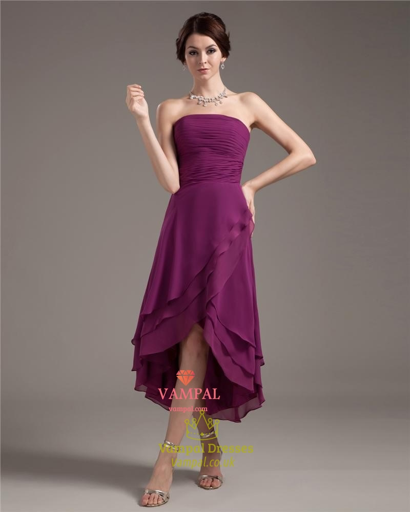 Purple Strapless Dresses For Teenagerssimple Purple High Low