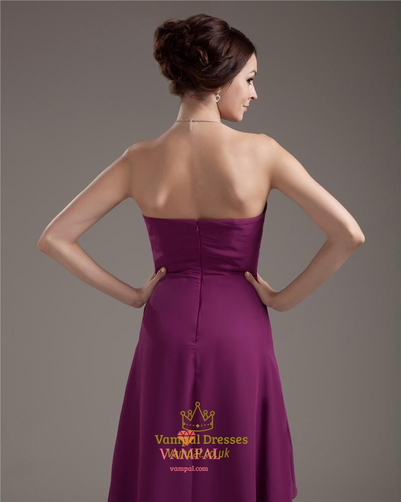 Purple Strapless Dresses For Teenagers,Simple Purple High Low ...
