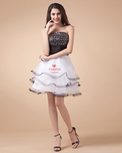 Black And White Short Dresses 2021,Black Sequin Top Dress