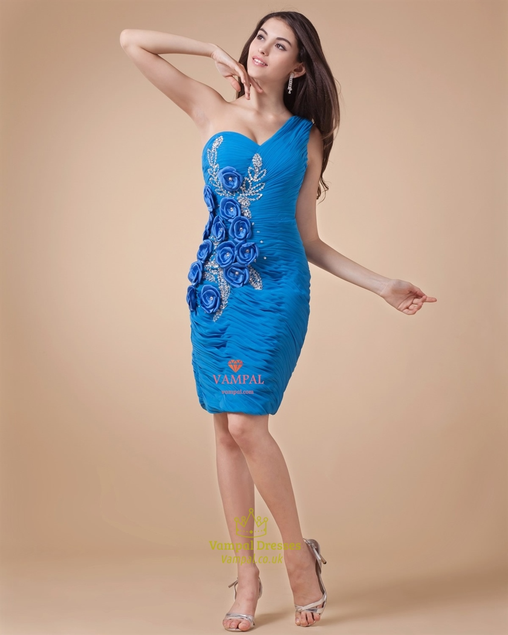 Blue One Shoulder Cocktail Dress ,One Shoulder Short Homecoming ...