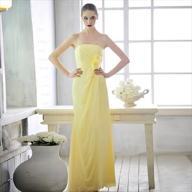 Yellow Bridesmaid Dresses For Girls,Simple Yellow Elegant Bridesmaid Dresses