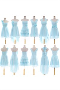 Long Light Blue Bridesmaid Dresses With Sleeves