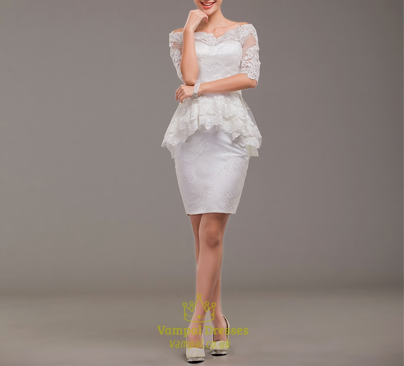 Off white lace knee length dress