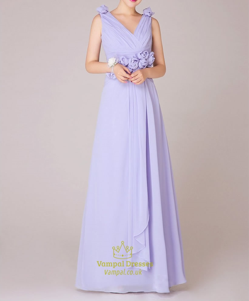 Lilac Bridesmaid Dresses Chiffon One Shoulder With Sleeves ...