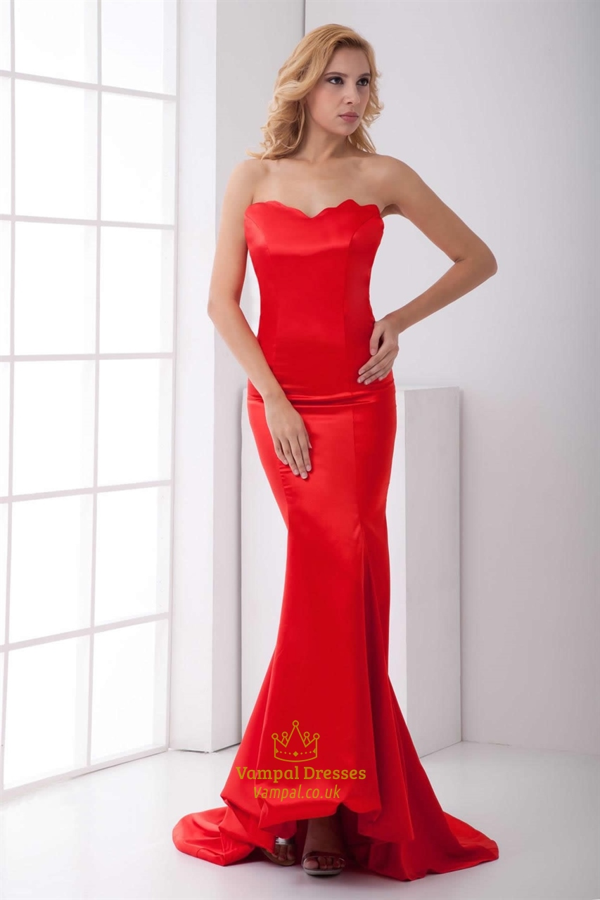 Red Mermaid Prom Dresses 2018,Slim Red Mermaid Prom Dresses