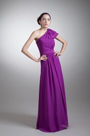 Purple One Shoulder Bridesmaid Dress With Sleeves,Long  Eggplant Bridesmaid Dresses Chiffon