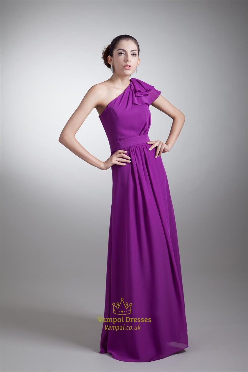Purple One Shoulder Bridesmaid Dress With Sleeves,Long Eggplant ...