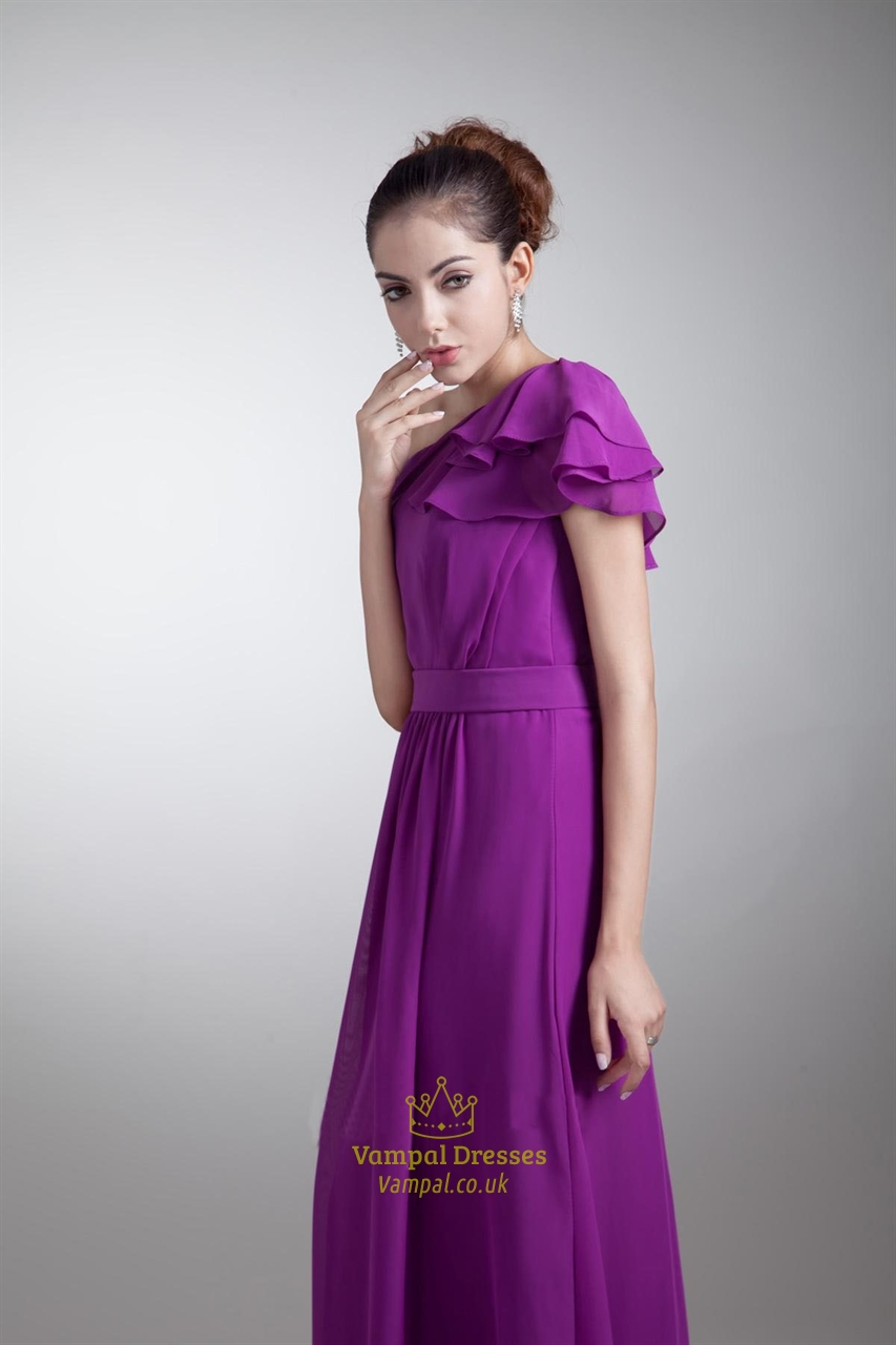 purple one shoulder bridesmaid dress with sleeveslong