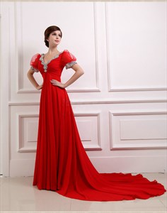 Red Prom Dresses With Sleeves,Red Dresses With Long Sleeves For Women