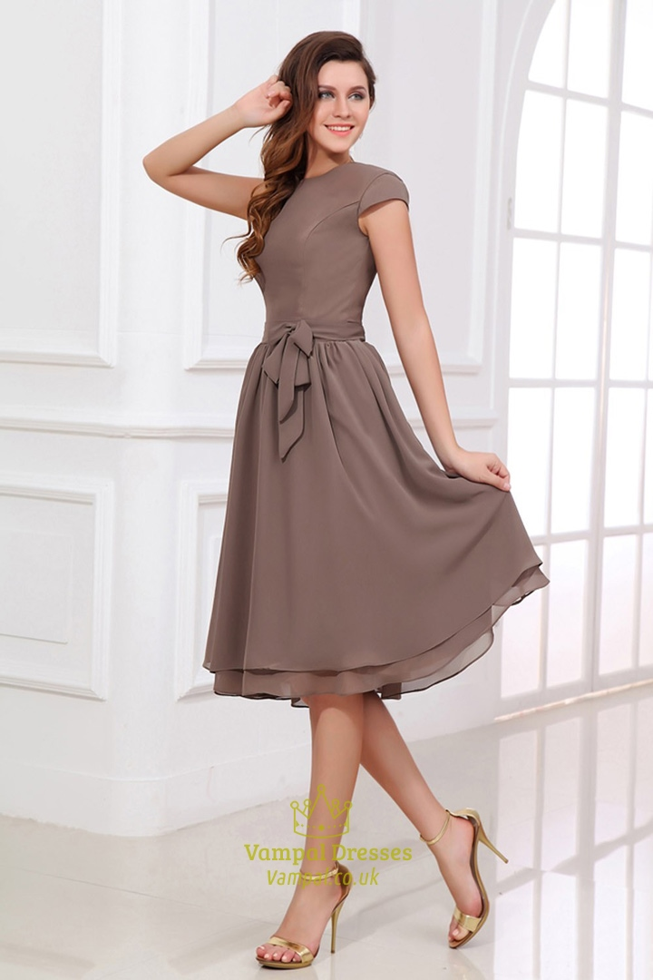 Brown bridesmaid dresses with sleeves coffee coloured for Brown dresses for wedding guest