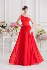 Elegant One Shoulder Red Prom Dress,Red One Shoulder Formal Dress