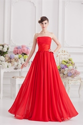 Long Red Strapless Formal Dress Gown 2016
