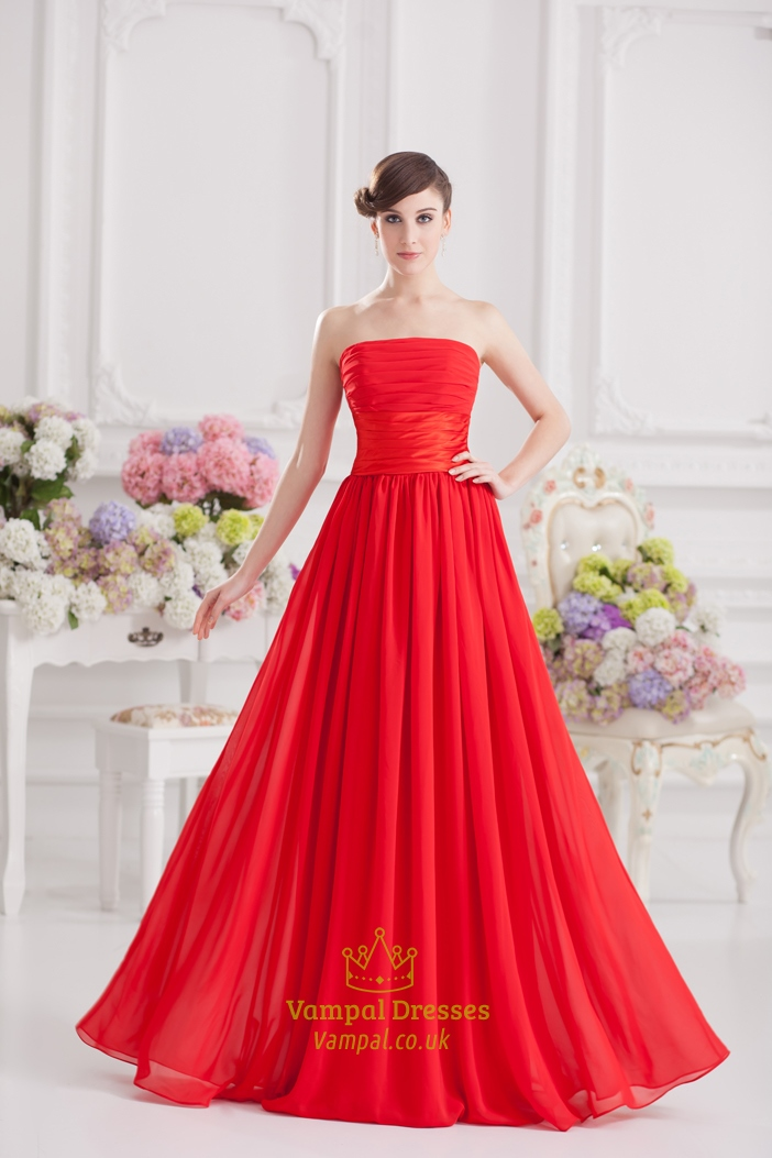 Long Red Strapless Formal Dress Gown 2016 Vampal Dresses