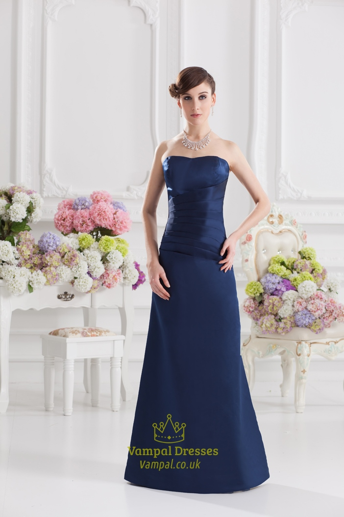 Navy blue bridesmaid dresses long navy blue strapless knee for Navy blue dresses for wedding