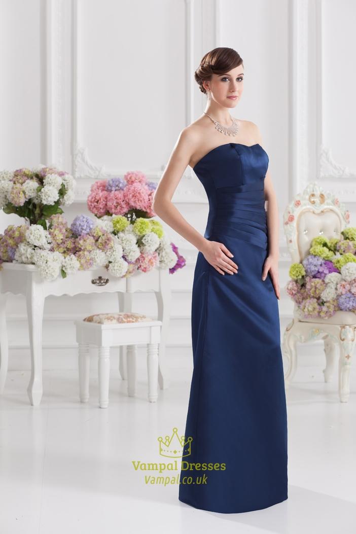 Navy Blue Bridesmaid Dresses Long Navy Blue Strapless Knee