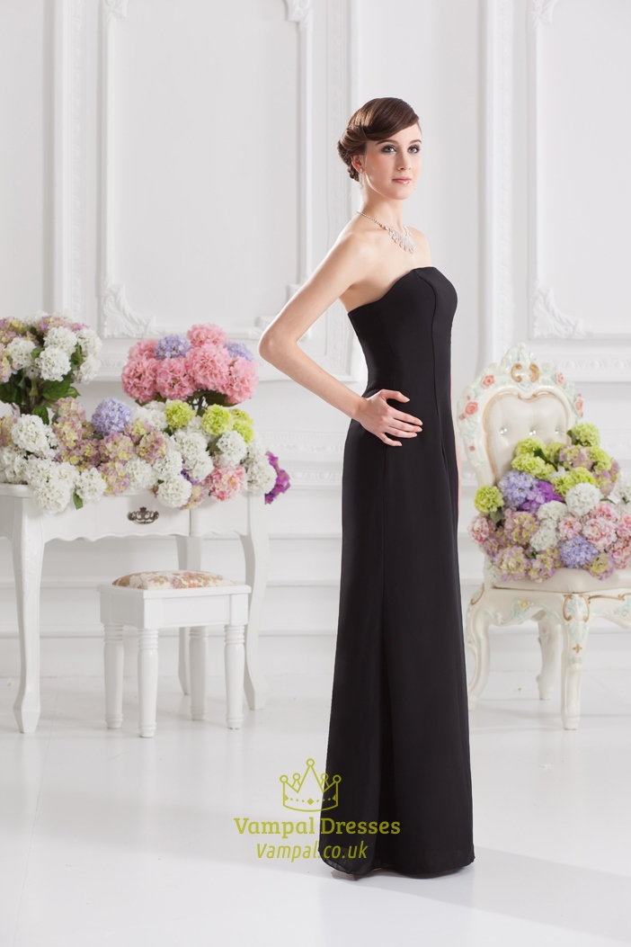 Black Bridesmaid Dresses With Sash Long Black Strapless