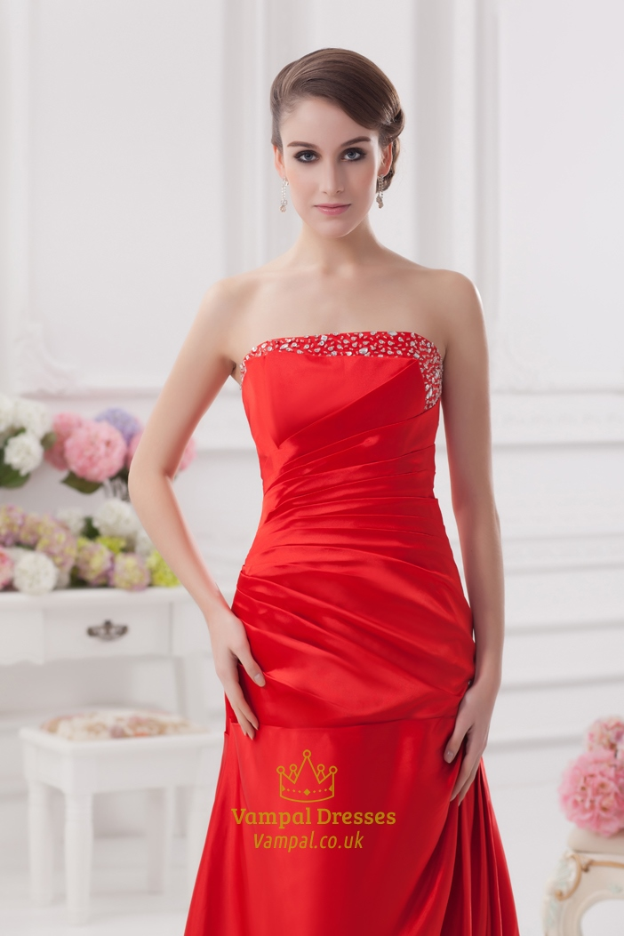 Red Prom Dresses With Diamonds,Red Evening Gowns Oscars With Trains