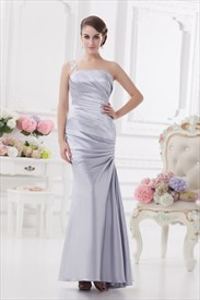 Silver One Shoulder Bridesmaid Dresses,One Shoulder Evening Gown With Beaded Detail