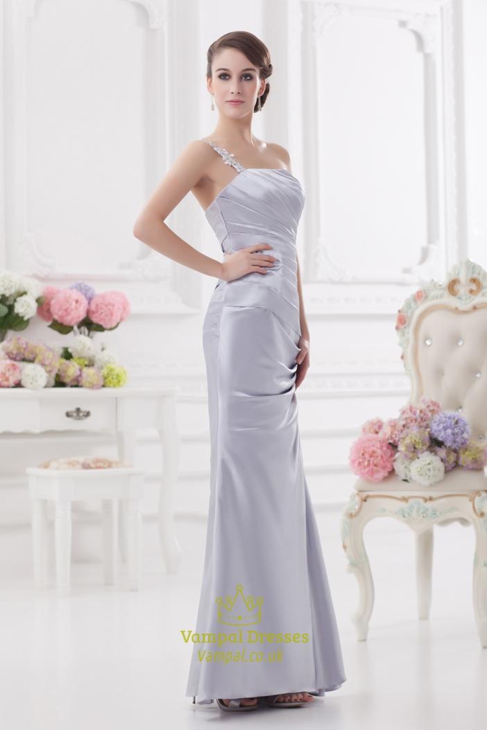 Silver one shoulder bridesmaid dresses one shoulder for Silver beaded wedding dress