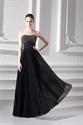Long Black Beaded Evening Dresses,Black Prom Gowns With Wrinkle Bottom
